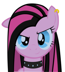 Size: 900x1003 | Tagged: safe, artist:pondisciom, pinkie pie, earth pony, pony, collar, ear piercing, female, jewelry, looking at you, mare, piercing, pinkamena diane pie, punk, punkamena, punkie pie, smiling, solo