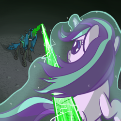 Size: 1280x1280 | Tagged: artist:phat_guy, changeling, changeling queen, derpibooru exclusive, dodge, female, fight, glowing horn, levitation, magic, magic blast, mare, pony, queen chrysalis, safe, self-levitation, starlight glimmer, telekinesis, unicorn