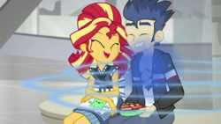 Size: 1921x1080 | Tagged: safe, screencap, flash sentry, sunset shimmer, eqg summertime shorts, equestria girls, good vibes, duo, female, happy, male, one eye closed, shipping fuel, smiling, sunset sushi