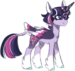 Size: 439x413 | Tagged: safe, artist:s1nb0y, twilight sparkle, alicorn, pony, alternate design, colored wings, dusk shine, glasses, male, multicolored wings, prince dusk, rule 63, sci-dusk, simple background, solo, stallion, transparent background, twilight sparkle (alicorn), unshorn fetlocks