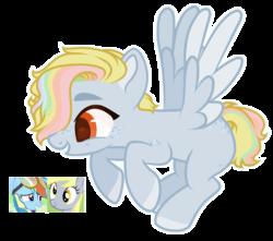 Size: 1400x1236   Tagged: safe, artist:m-00nlight, oc, pegasus, pony, female, magical lesbian spawn, mare, offspring, parent:derpy hooves, parent:rainbow dash, parents:derpydash, simple background, solo, transparent background