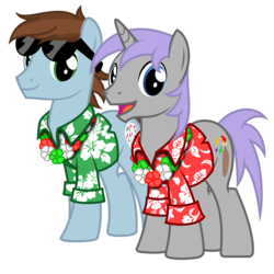 Size: 1000x1000 | Tagged: safe, artist:avastindy, derpibooru exclusive, oc, oc only, oc:coolj, oc:spark brush, earth pony, pony, unicorn, 2019 community collab, derpibooru community collaboration, clothes, hawaiian shirt, lei, male, shirt, simple background, stallion, sunglasses, transparent background