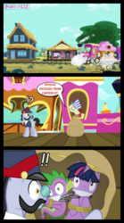 Size: 667x1198 | Tagged: artist:bigsnusnu, carriage, comic, comic:dusk shine in pursuit of happiness, dragon, dusk shine, earth pony, friendship express, literal shipping, pony, ponyville train station, prank, rope, rule 63, sack, safe, spike, tied up, train, twilight sparkle, unicorn, unicorn dusk shine, unsexy bondage