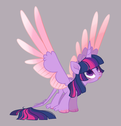 Size: 1280x1334 | Tagged: alicorn, artist:nemovonsilver, cloven hooves, colored hooves, colored wings, cute, female, gradient wings, gray background, horn, leonine tail, looking up, mare, open mouth, pony, safe, simple background, solo, spread wings, twilight sparkle, twilight sparkle (alicorn), unshorn fetlocks, wings