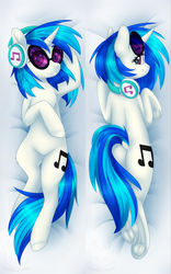 Size: 2835x4535 | Tagged: artist:doekitty, body pillow, body pillow design, chest fluff, dj pon-3, dock, female, frog (hoof), headphones, looking at you, looking back, looking back at you, mare, pony, safe, smiling, solo, sunglasses, underhoof, unicorn, vinyl scratch