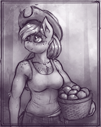 Size: 1152x1452 | Tagged: anthro, apple, apple basket, applejack, artist:bantha, breasts, busty applejack, clothes, cowboy hat, female, food, grayscale, hat, monochrome, safe, solo, tanktop