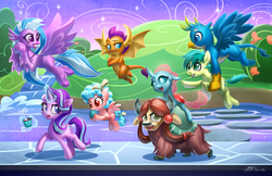Size: 5100x3300 | Tagged: safe, artist:imdrunkontea, cozy glow, gallus, ocellus, sandbar, silverstream, smolder, starlight glimmer, yona, changedling, changeling, classical hippogriff, dragon, earth pony, griffon, hippogriff, pegasus, pony, unicorn, yak, marks for effort, absurd resolution, bow, chocolate, cloven hooves, crossed arms, dragoness, empathy cocoa, everfree northwest, female, filly, flying, food, glowing horn, hair bow, holding a pony, hot chocolate, lead, magic, male, mare, marshmallow, monkey swings, paws, school, student six, teenager, telekinesis