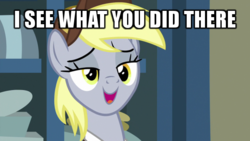 Size: 600x338 | Tagged: safe, edit, screencap, derpy hooves, pony, best gift ever, caption, female, i see what you did there, image macro, lidded eyes, mailpony, meme, mid-blink screencap, post office, reaction image, solo, text