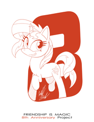 Size: 1086x1400 | Tagged: anniversary, artist:fuzon-s, female, happy birthday mlp:fim, mare, mlp fim's eighth anniversary, monochrome, part of a set, pony, raised hoof, safe, sketch, smiling, solo, style emulation, sunset shimmer, unicorn, yuji uekawa style