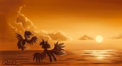 Size: 1980x1080   Tagged: safe, artist:ravistdash, derpibooru exclusive, rainbow dash, twilight sparkle, alicorn, pegasus, pony, cloud, duo, female, flying, looking at each other, mare, ocean, sun, twilight sparkle (alicorn), wallpaper