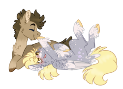 Size: 961x697 | Tagged: safe, artist:wanderingpegasus, derpy hooves, doctor whooves, time turner, earth pony, pegasus, pony, alternate design, chest fluff, coat markings, doctorderpy, ear fluff, eyes closed, facial markings, female, fluffy, freckles, male, prone, shipping, simple background, smiling, socks (coat markings), spots, star (coat marking), straight, transparent background