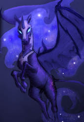 Size: 2263x3317 | Tagged: safe, artist:rimmes-broose, nightmare moon, alicorn, bat pony, horse, pony, bat ponified, cutie mark, cyrillic, ethereal mane, female, glowing eyes, gradient background, helmet, jewelry, looking at you, mare, race swap, realistic, regalia, russian, solo, spread wings, starry mane, wings