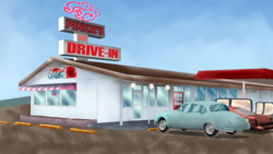 Size: 1920x1080 | Tagged: 1950s, artist:chiptunebrony, building, car, diner, parody, pinkie pie, pony, restaurant, retro, safe, scenery, sign