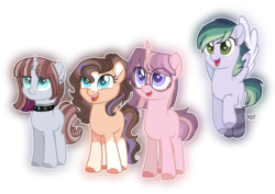 Size: 1024x723 | Tagged: safe, artist:at--ease, oc, oc only, pegasus, pony, unicorn, base used, blaze (coat marking), choker, clothes, colored hooves, glasses, magical lesbian spawn, magical polyamorous spawn, magical threesome spawn, multiple parents, offspring, parent:big macintosh, parent:flash sentry, parent:maud pie, parent:moondancer, parent:pinkie pie, parent:rainbow dash, parent:rarity, parent:sassy saddles, parent:soarin', parent:starlight glimmer, parent:sunburst, parent:twilight sparkle, parents:flashlightdancer, parents:sassymaudity, parents:soarindashmac, parents:starburstpie, quartet, simple background, socks, socks (coat marking), star (coat marking), striped socks, transparent background