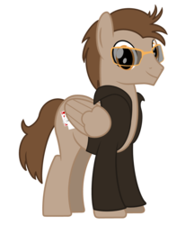 Size: 1900x2200 | Tagged: safe, artist:pizzamovies, oc, oc only, oc:toffee scotch, pegasus, pony, 2019 community collab, derpibooru community collaboration, clothes, cutie mark, glasses, jacket, male, playing card, simple background, smiling, solo, stallion, transparent background