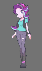 Size: 1152x1920 | Tagged: artist:rvceric, beanie, boots, clothes, equestria girls, female, gray background, hat, mirror magic, pants, safe, shirt, shoes, simple background, solo, spoiler:eqg specials, starlight glimmer, vest