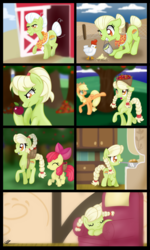 Size: 1024x1707 | Tagged: adult, age regression, apple, apple bloom, applebucking, applejack, apple tree, armchair, artist:bonsia-lucky, barn, basket, bird, braces, braid, bucket, chicken, comic, earth pony, eyes closed, feed, female, filly, foal, food, granny smith, grin, mouth hold, no dialogue, orchard, pony, ponytail, pot, request, safe, sleeping, smiling, teenager, tree, younger, young granny smith