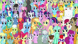 Size: 1920x1080 | Tagged: alicorn, aloe, amethyst star, apple bloom, applejack, artist:dashiesparkle, berry punch, berryshine, big macintosh, bon bon, bulk biceps, carrot cake, carrot top, cheerilee, cloudchaser, cup cake, cutie mark crusaders, daisy, derpy hooves, diamond tiara, dj pon-3, doctor whooves, edit, everypony at s5's finale, flitter, flower wishes, fluttershy, golden harvest, granny smith, lemon hearts, linky, lotus blossom, lyra heartstrings, mane six, mayor mare, minuette, octavia melody, pinkie pie, pipsqueak, pokey pierce, pound cake, pumpkin cake, rainbow dash, rarity, roseluck, safe, sassaflash, scootaloo, seafoam, sea swirl, shoeshine, silver spoon, snails, snips, sparkler, spike, spring melody, sprinkle medley, starlight glimmer, sunshower raindrops, sweetie belle, sweetie drops, thunderlane, time turner, trixie, twilight sparkle, twilight sparkle (alicorn), twist, vinyl scratch