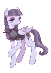 Size: 398x564 | Tagged: safe, artist:kkmrarar, edit, editor:jamalleymall, inky rose, pegasus, pony, clothes, cropped, eyeshadow, female, looking at you, makeup, mare, raised hoof, simple background, solo, white background