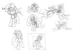 Size: 1271x869 | Tagged: safe, artist:hyper dash, fluttershy, rainbow dash, oc, pony, flying, sketch