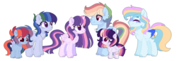 Size: 1461x510   Tagged: safe, artist:moon-rose-rosie, rainbow dash, twilight sparkle, oc, oc:celestial moon, oc:color sprinkle bean, oc:magic flight, oc:sparkle dash, alicorn, pony, chest fluff, female, half r63 shipping, male, offspring, parent:rainbow blitz, parent:rainbow dash, parent:twilight sparkle, parents:twiblitz, parents:twidash, rainbow blitz, shipping, simple background, straight, trans boy, transgender, transparent background, twiblitz, twidash, twilight sparkle (alicorn)