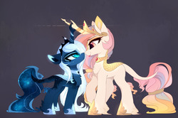 Size: 1280x849 | Tagged: safe, artist:magnaluna, princess celestia, princess luna, kirin, pony, :p, boop, chest fluff, crossed horns, cute, cutelestia, duo, duo female, ear fluff, eye contact, eyeshadow, female, fluffy, frown, glare, gray background, hoof fluff, horns are touching, kirin celestia, kirin luna, kirin-ified, leg fluff, leonine tail, lidded eyes, looking at each other, lunabetes, makeup, mare, nightmare luna, noseboop, pink-mane celestia, royal sisters, scales, siblings, sillestia, silly, simple background, sisters, size difference, slit eyes, smiling, smirk, species swap, tail fluff, tail wrap, tongue out, unamused, unshorn fetlocks