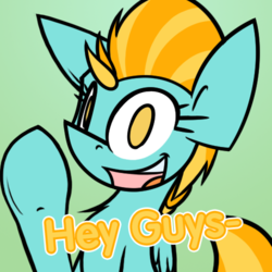 Size: 500x500 | Tagged: safe, artist:askincompetentlightningdust, artist:ralek, lightning dust, pegasus, pony, chest fluff, female, hello, looking at you, mare, no pupils, solo, text