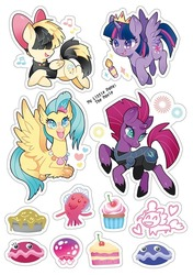 Size: 600x853   Tagged: safe, artist:jannel300, jamal, pinkie pie, princess skystar, shelldon, shelly, songbird serenade, tempest shadow, twilight sparkle, alicorn, classical hippogriff, cuttlefish, earth pony, hippogriff, jellyfish, pegasus, pony, unicorn, my little pony: the movie, armor, bow, broken horn, cake, candle, colored hooves, cupcake, eye scar, female, food, hair bow, heart, horn, jewelry, mare, necklace, pie, scar, simple background, smiling, sticker, sticker set, tiara, twilight sparkle (alicorn), white background