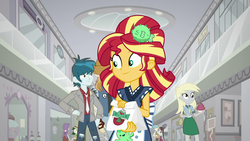 Size: 1920x1080 | Tagged: safe, screencap, bright idea, derpy hooves, starlight, sunset shimmer, thunderbass, valhallen, eqg summertime shorts, equestria girls, good vibes, background human, canterlot mall, female, male, mall, sunset sushi, waitress