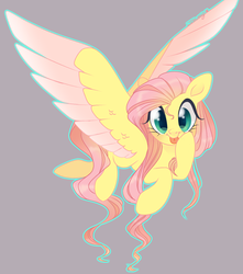 Size: 1280x1446 | Tagged: artist:nemovonsilver, big eyes, colored wings, colored wingtips, cute, female, fluttershy, flying, gray background, looking at you, mare, :p, pegasus, pony, safe, shyabetes, silly, simple background, solo, tongue out