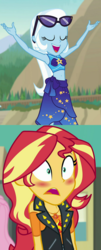Size: 1187x2952 | Tagged: safe, edit, edited screencap, screencap, sunset shimmer, trixie, equestria girls, equestria girls series, forgotten friendship, blushing, clothes, female, geode of empathy, lesbian, magical geodes, open mouth, reaction, shipping, suntrix