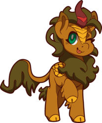 Size: 1618x1953 | Tagged: safe, artist:jennithedragon, oc, oc only, oc:earthen spark, kirin, 2019 community collab, derpibooru community collaboration, cloven hooves, female, kirin oc, looking at you, one eye closed, simple background, solo, tongue out, transparent background, wink