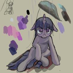 Size: 1280x1280 | Tagged: safe, artist:erijt, twilight sparkle, pony, unicorn, female, floppy ears, leaf, looking at you, mare, rain, sad, solo, unicorn twilight, wet mane