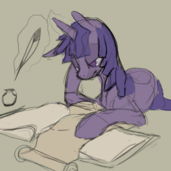 Size: 1280x1279 | Tagged: safe, artist:erijt, twilight sparkle, pony, book, female, glowing horn, inkwell, lidded eyes, magic, mare, quill, reading, scroll, simple background, solo, telekinesis, tired