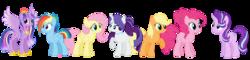 Size: 5940x1430   Tagged: safe, artist:ilaria122, applejack, fluttershy, pinkie pie, rainbow dash, rarity, starlight glimmer, twilight sparkle, alicorn, earth pony, pegasus, pony, unicorn, alternate hairstyle, crown, ethereal mane, female, hatless, jewelry, mare, missing accessory, necklace, next generation, older, older applejack, older fluttershy, older pinkie pie, older rainbow dash, older rarity, older starlight glimmer, older twilight, regalia, simple background, starry mane, transparent background, twilight sparkle (alicorn), ultimate twilight