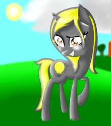 Size: 919x1044 | Tagged: artist:lightningstarmlp, female, inanimate insanity, lightbulb (inanimate insanity), mare, ponified, pony, safe, solo