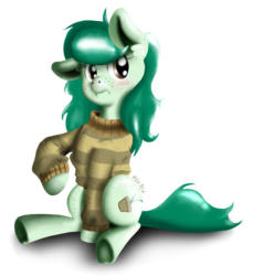 Size: 800x873 | Tagged: safe, artist:valemjj, wallflower blush, earth pony, pony, equestria girls, blushing, clothes, equestria girls ponified, female, freckles, mare, ponified, raised hoof, spots, sweater