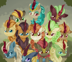 Size: 1953x1693 | Tagged: safe, artist:dusthiel, autumn afternoon, autumn blaze, cinder glow, fall flower, fern flare, forest fall, maple brown, pumpkin smoke, rain shine, sparkling brook, spring glow, summer flare, winter flame, kirin, sounds of silence, :3, :p, awwtumn blaze, background kirin, cute, female, grin, group, group hug, group photo, group shot, hug, kirinbetes, looking at you, looking back, looking back at you, male, mood contrast, one of these things is not like the others, photo, sad, serious, silly, smiling, tongue out, unamused