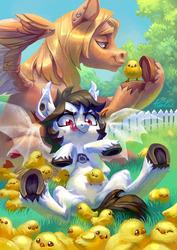 Size: 1280x1811 | Tagged: safe, artist:holivi, oc, oc only, bat pony, pegasus, pony, bat pony oc, chick, fangs, female, grass, hungry, male, mare, stallion