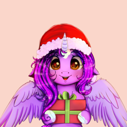 Size: 3800x3800 | Tagged: alicorn, alicorn oc, artist:miokomata, blushing, box, christmas, clothes, cute, female, hat, holiday, mare, oc, oc:dazzling talents, oc only, open mouth, pony, present, safe, santa hat, simple background, smiling, socks (coat marking), white background