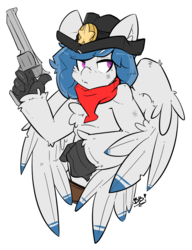 Size: 2426x3162 | Tagged: artist:bbsartboutique, badge, bandana, commission, cowboy hat, gun, handgun, hat, hippogriff, oc, oc:delta dart, oc only, ranger, revolver, safe, simple background, talons, transparent background, weapon, wings
