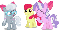 Size: 4471x2292   Tagged: safe, artist:liggliluff, artist:piranhaplant1, artist:slb94, edit, editor:slayerbvc, vector edit, apple bloom, diamond tiara, silver spoon, earth pony, pony, accessory swap, accessory-less edit, adorabloom, adorabullies, apple bloom's bow, bow, cute, cutie mark, diamondbetes, female, filly, giggling, glasses, hair bow, jewelry, missing accessory, necklace, raised hoof, silverbetes, simple background, smiling, the cmc's cutie marks, transparent background, vector