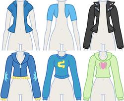 Size: 1008x820   Tagged: safe, artist:liggliluff, pinkie pie, rainbow dash, sunset shimmer, trixie, equestria girls, assets, clothes, jacket, mannequin, sweater, wondercolts