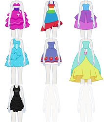 Size: 1110x1300   Tagged: safe, artist:liggliluff, applejack, fluttershy, pinkie pie, rainbow dash, rarity, twilight sparkle, equestria girls, equestria girls (movie), assets, clothes, dress, fall formal outfits, humane five, humane six