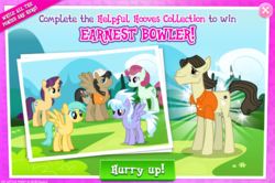 "Size: 1039x688 | Tagged: safe, amethyst skim, cloudchaser, jack hammer, sunshower raindrops, theodore donald ""donny"" kerabatsos, earth pony, pegasus, pony, unicorn, advertisement, background pony, clothes, donny, female, gameloft, hard hat, male, mare, official, shirt, stallion"