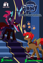 Size: 4750x7000 | Tagged: absurd res, adventure, alternate hairstyle, alternate timeline, alternate universe, artist:chedx, comic, comic:the storm kingdom, cover, cover art, crystal of light, fanfic, fanfic art, fantasy, general tempest shadow, my little pony: the movie, oc, oc:time piece, original character do not steal, safe, tempest shadow, the bad guy wins