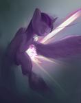 Size: 1382x1757 | Tagged: safe, artist:gliconcraft, twilight sparkle, alicorn, pony, digital art, flying, magic, twilight sparkle (alicorn)