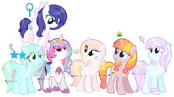 Size: 1024x571 | Tagged: safe, artist:xylenneisnotamazing, oc, oc only, alicorn, earth pony, pegasus, pony, unicorn, female, mare, simple background, transparent background