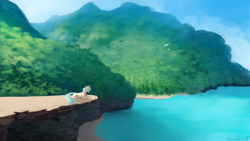 Size: 2560x1440 | Tagged: safe, artist:floverale-hellewen, coco pommel, earth pony, pony, cliff, female, forest, looking down, mare, mountain, ocean, outdoors, prone, scenery, signature, solo
