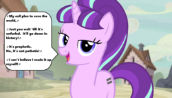 Size: 1258x720   Tagged: safe, edit, edited screencap, screencap, starlight glimmer, season 5, the cutie map, bangs, cloud, cottage, equality mark, five iron frenzy, lyrics, music notes, my evil plan to save the world, open mouth, s5 starlight, singing, solo, song reference, speech bubble, starlight's village, text